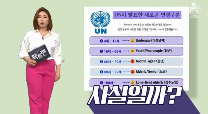"""[팩트맨]""""UN이 발표한 새로운 연령 구분법""""?…사실은"""