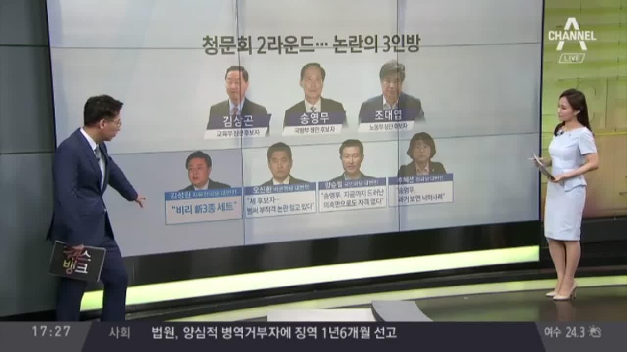 청문회 3라운드 돌입…교육·국방·노동 '논란'