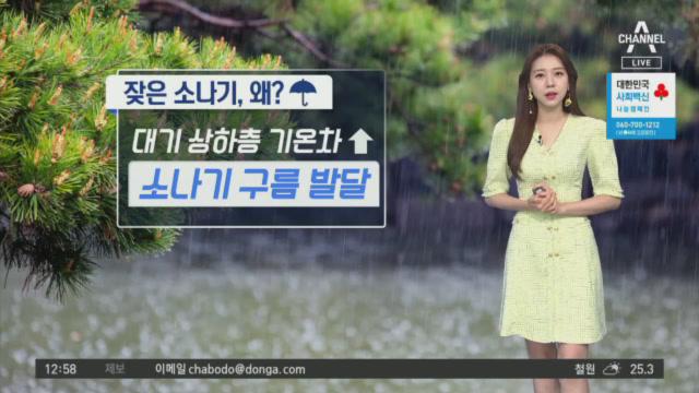 [날씨]주말까지 소나기 계속…천둥·번개·우박 유의