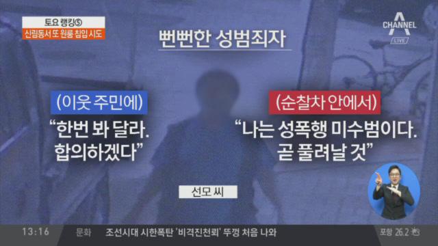 잡힐 땐 '조롱' 경찰선 '미안'…뻔뻔한 성폭행 미수범 이미지
