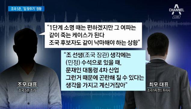 """조 장관 5촌 철저히 입 맞췄다…""""조국도 낙마"""" 녹취록...."""