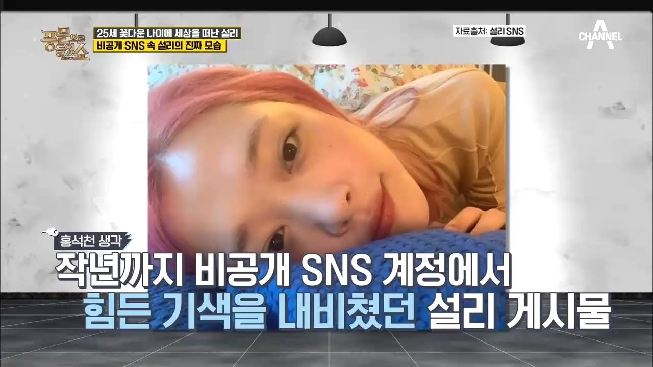 밝아보였던 설리.비공개 SNS 속 설리의 진짜 모습..