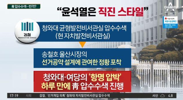 """검찰, '靑 압수수색'…""""윤석열은 직진 스타일"""""""