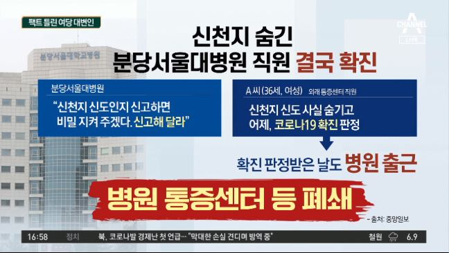 """분당서울대병원 직원 확진…""""신천지 신도"""""""