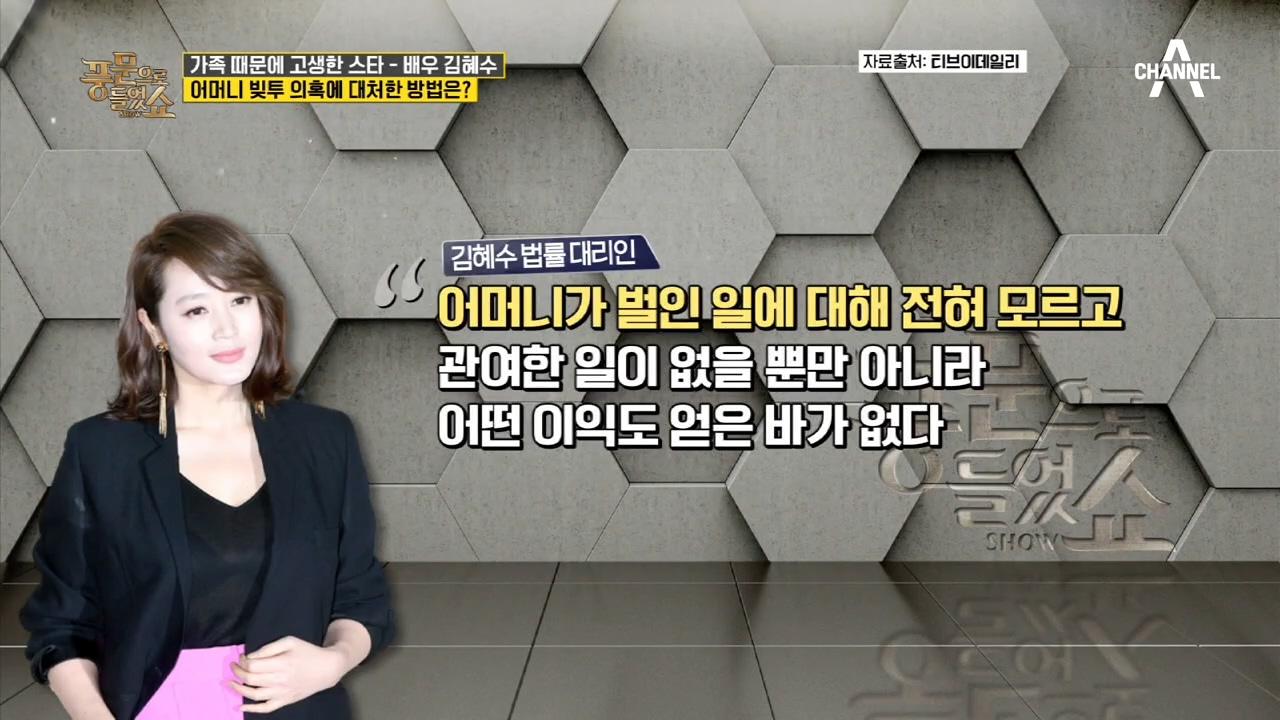 국회의원한테까지 빌려간 돈? 김혜수 母의 13억 원 빚....