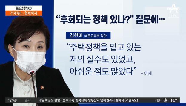 """전세 뛰니 월세까지…김현미 """"부동산 정책 실수 있었다"""""""