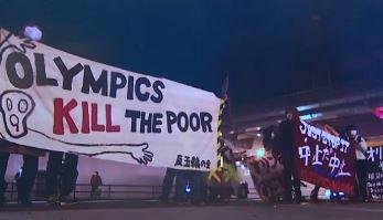 """[세상터치]""""올림픽 왜하냐"""" 항의시위 / 성큼성큼 걷는...."""