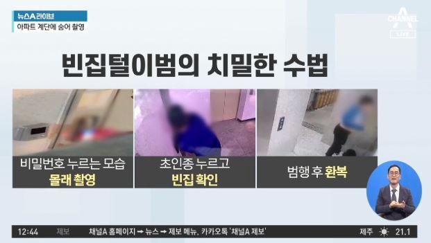 현관 비밀번호 조심…계단에서 몰래 촬영 '절도'