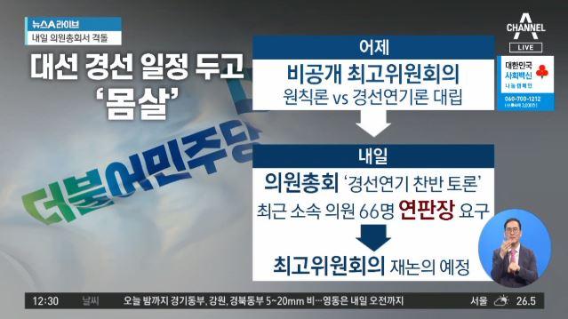 """""""연기"""" vs """"원칙대로""""… 與 지도부 한밤 격론"""