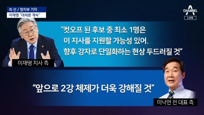 """이재명 측 """"대세론 계속""""…이낙연 측 """"2강 체제 형성...."""