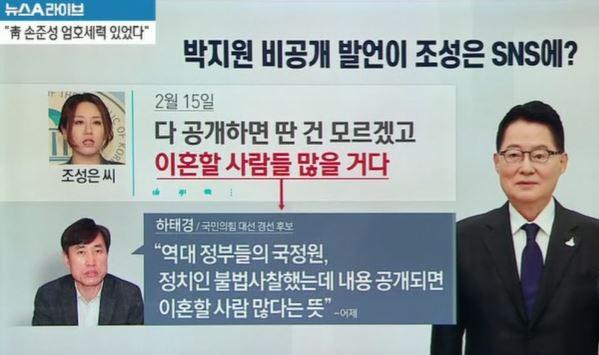 박지원 비공개 발언이 조성은 SNS에?
