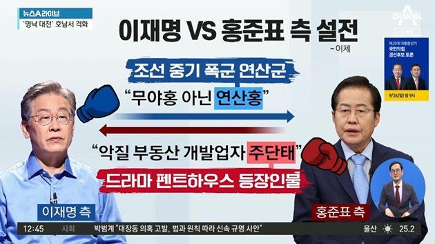 """""""연산홍"""" vs """"주단태""""…이재명·홍준표 측 설전"""