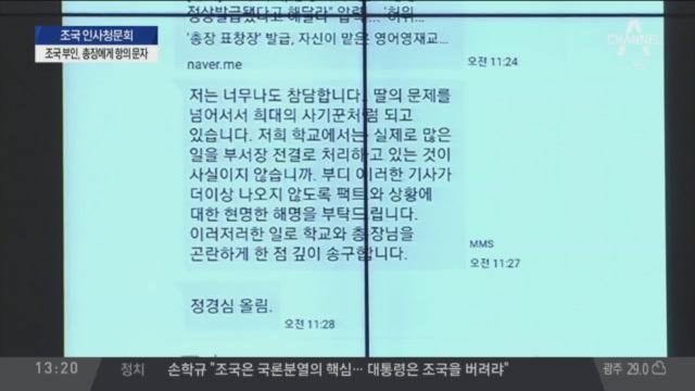 """김도읍 """"후보자 부인, 최 총장에게 항의 문자 보내"""""""