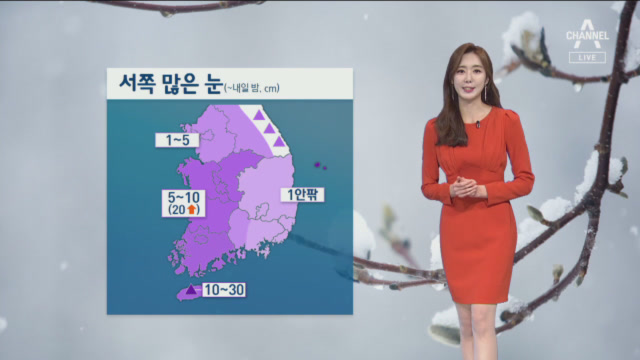[날씨]기온 '뚝' 영하권 추위…충청·호남 최고 20㎝....