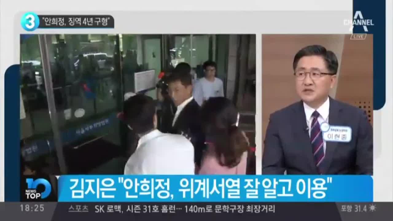 """""""안희정, 징역 4년 구형"""""""