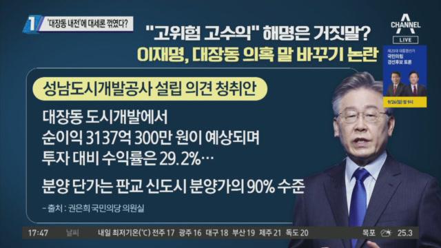 """'대장동 개발' 말 바뀐 이재명…추진 땐 """"안전"""", 의...."""
