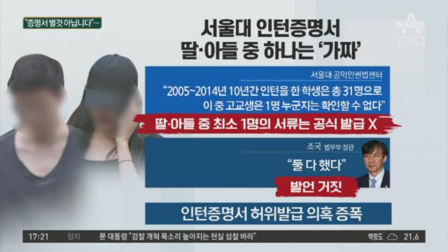 서울대 인턴증명서 조국 딸·아들 중 하나는 '가짜'