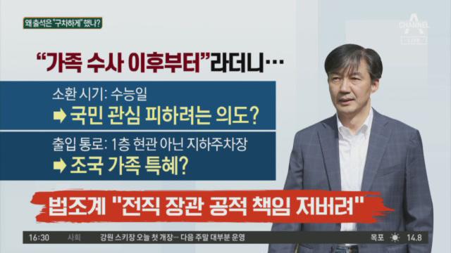 '공개소환 폐지' 1호 수혜자 조국, 포토라인 피했다