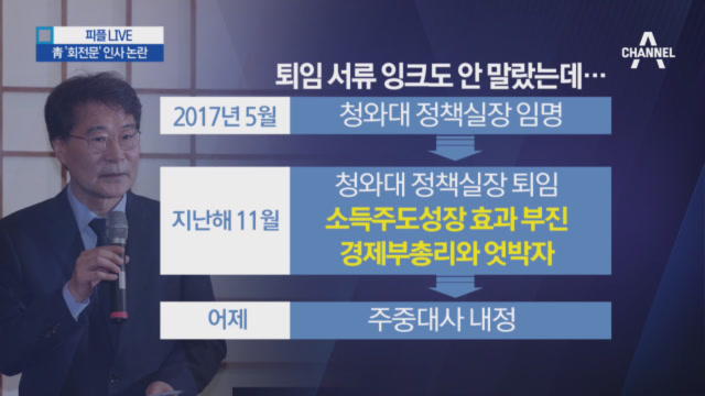 주중대사 장하성 내정…靑, '회전문 인사' 논란