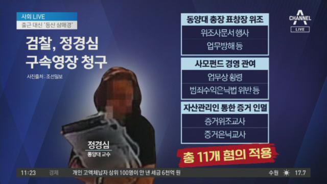 검찰, 정경심 구속영장 청구…11개 혐의 적용