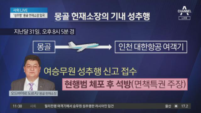 '성추행' 몽골 헌재소장 입국…통역 승무원에 폭언까지