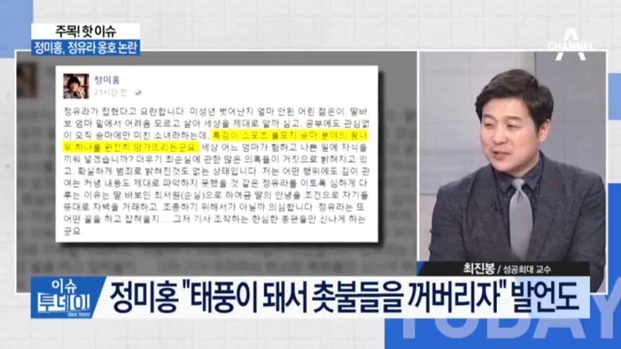 정미홍, 정유라 옹호 논란…표창원, 정유라 조롱 사과