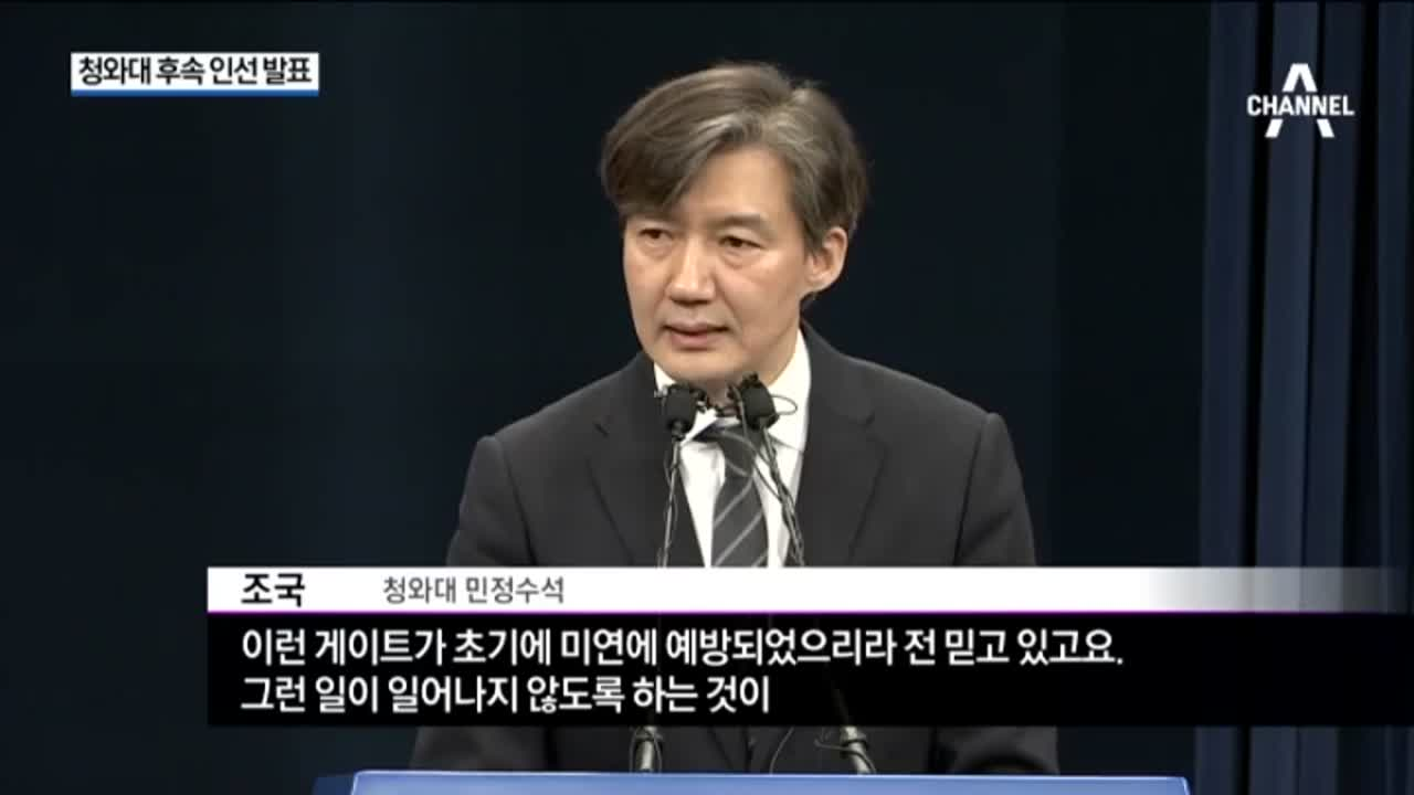 청와대 후속 인선 발표…민정수석 조국 '검찰개혁'