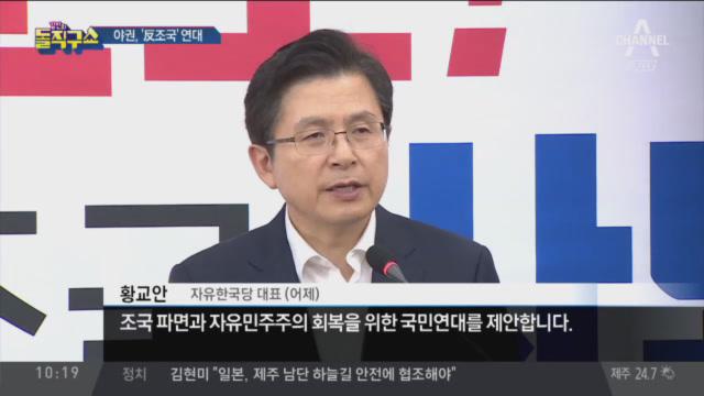'조국 파면 국민연대' 손잡은 황교안·손학규