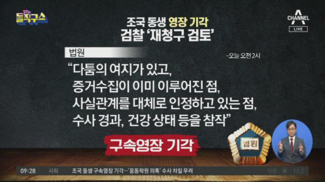 조국 동생 영장 기각…검찰 '재청구 검토'