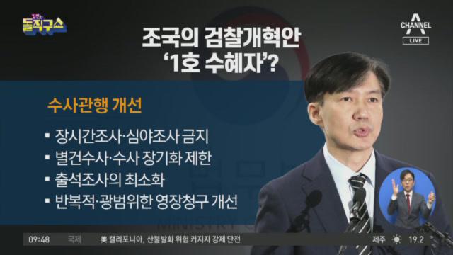조국의 검찰개혁안 '1호 수혜자'?