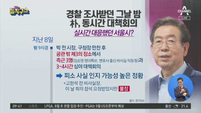경찰 조사받던 그날 밤…박원순, 동시간 대책회의